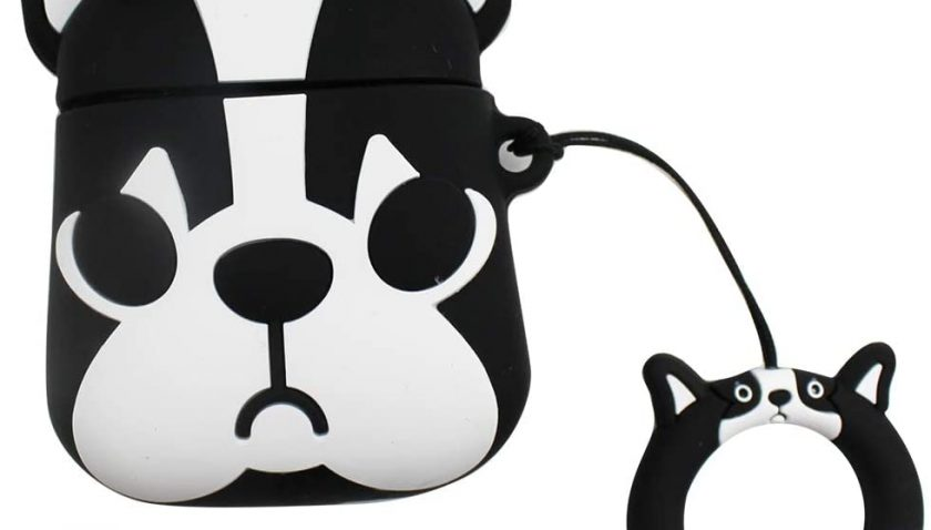 50% Discount for mossty Cute Bulldog AirPods Case Apple Pods Cover Skin Drop Protection Silicone Charging Case