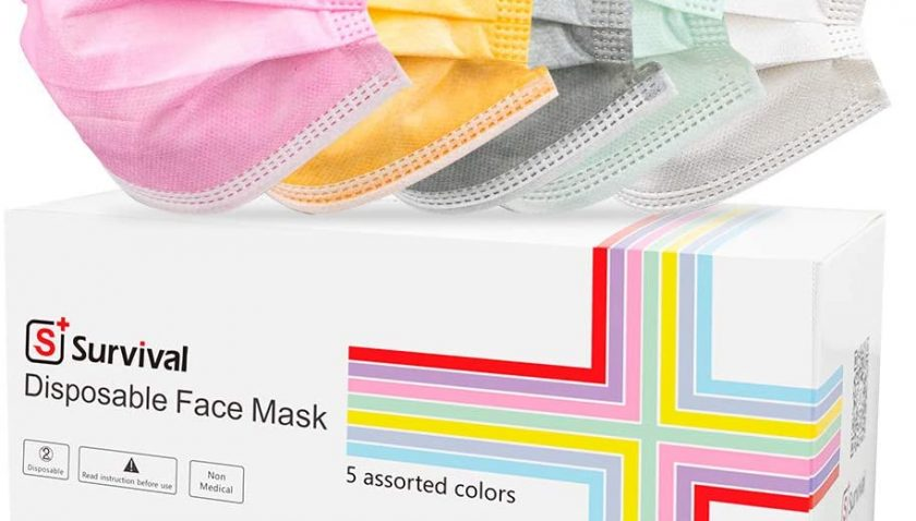 50% Discount for 50 Pcs Multicolored Disposable Face Masks with Elastic Earloops