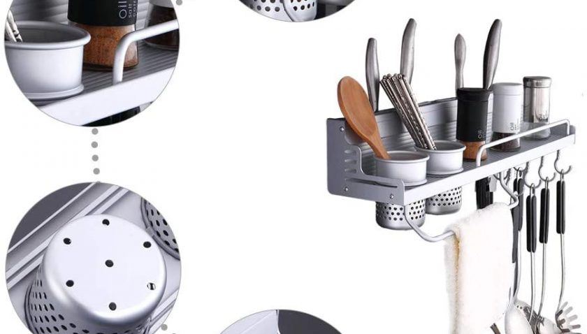 50% Discount for Kitchen Wall Pot Rack Aluminum Wall Hanging Shelf Cookware Fit for Kitchen Restaurant Bar Bathroom Silver