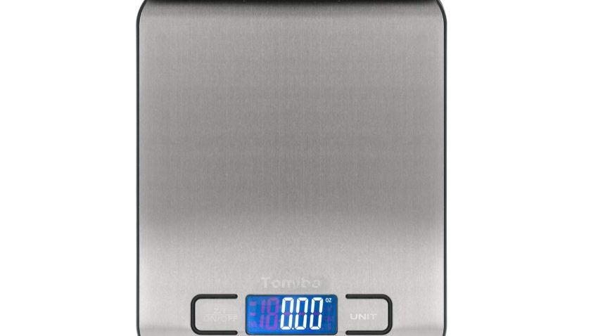 50% Discount for TOMIBA Digital Kitchen Food Scale 11 lb Grams and Ounces Small Stainless Steel Backlit Silver Batteries Included