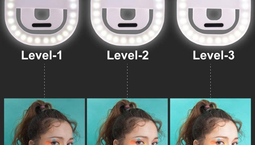 50% DiscountSelfie Phone Light Clip On Phone 2 Hours Working Time 3 Levels Brightness Adjustable Rechargeable Phone Ring Light (White)