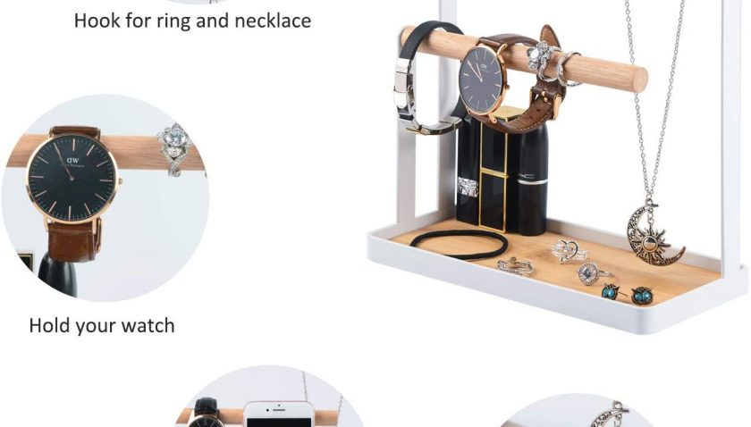 50% Discount for Portin Jewelry Organizer Display Stand Holder with Wooden Ring Tray and Hooks Storage Necklaces Bracelets, Rings, Watches Metal Desk Organizer Stand