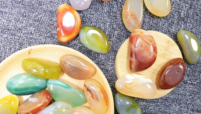 50% Discount for NINGYE 1.1lbs Decorative Pebbles Rocks 1-2inch Polished Natural Agate Stones