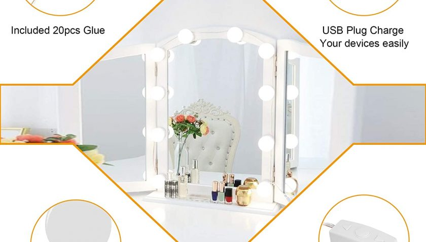 50% Discount for Vanity Lights for Mirror - Honesorn Hollywood Style Vanity Mirror Lights with Dimmable 10 LED Bulbs for Makeup Table