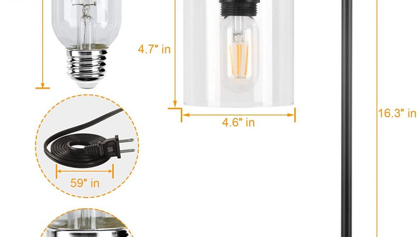 50% Discount for Industrial Table Lamp with 2 USB Ports, Winshine Stepless Dimmable Nightstand Lamp