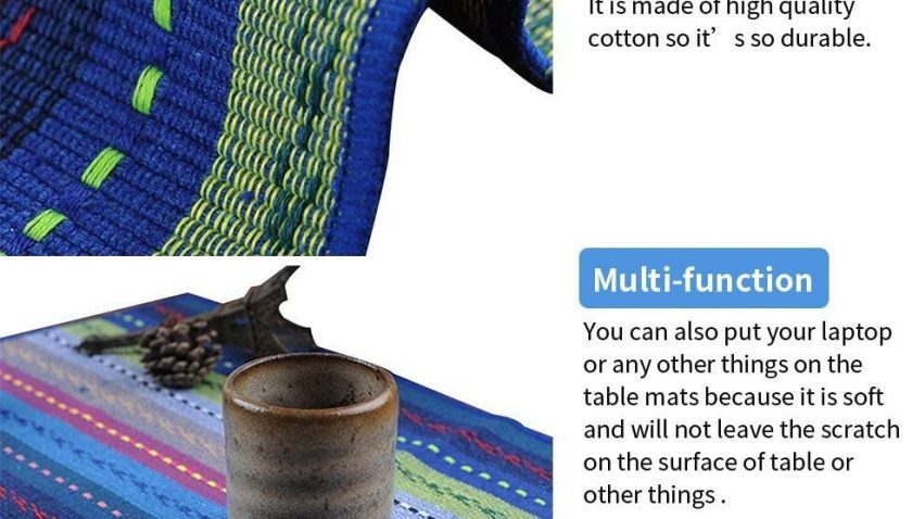 """50% Discount for WOOD MEETS COLOR Cotton Table Placemats Set of 6 Woven Braided Ribbed Washable Kitchen Table Mats, 12"""" x 18"""" (Blue 2)"""