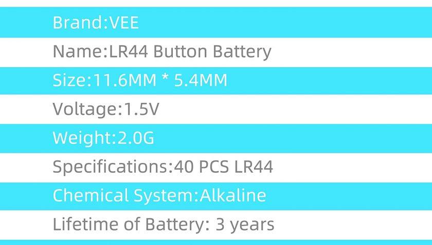 50% Discount for LR44 Batteries A76 AG13 L1154F L1154 357A 1.5V Alkaline Button Cell Battery 40pcs