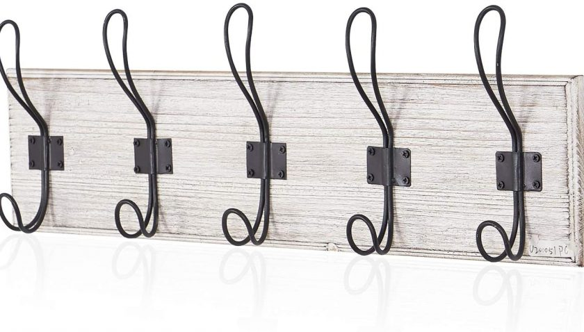 51% Discount for Rustic Coat Hat Wooden Rack Wall Mounted with 5 Hooks, for Entryway, Bathroom, Bedroom, Kitchen(Pack of 2)