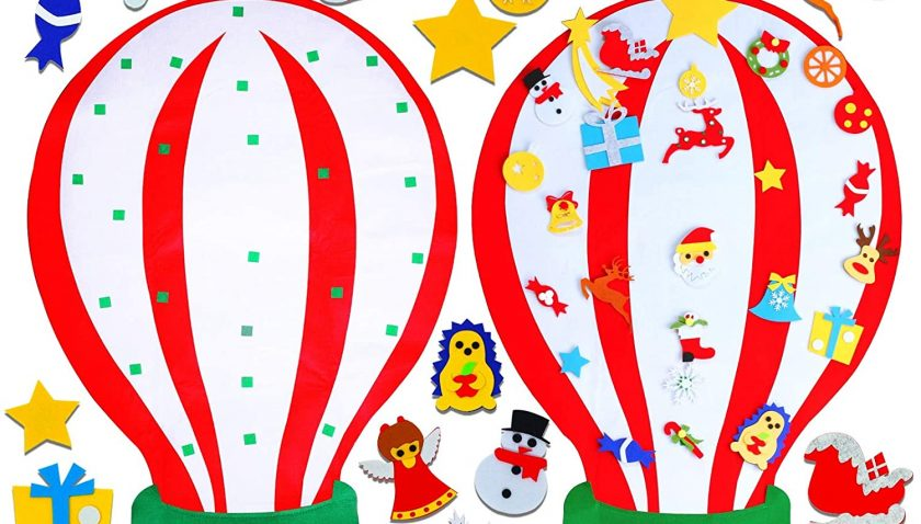 50% off 3.8 Ft Felt Christmas Tree Hot Air Balloon Set for Toddlers Kids with 31pcs Christmas Ornaments Decor