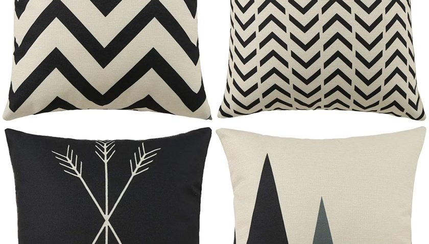50% Discount for Tosewever Set of 4 Decorative Geometric 18 x 18 Inches Throw Pillow Covers - Modern Pattern Linen Square