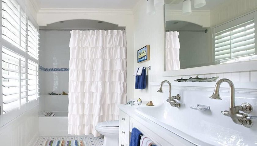 50% Discount for Ameritex Ruffle Shower Curtain Home Decor | Soft Polyester