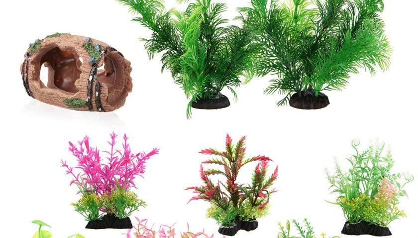 50% Discount for LANSEYQO Plastic Aquarium Decorations Lifelike Plastic Decor Fish Tank Plants with Shrimp Fish House