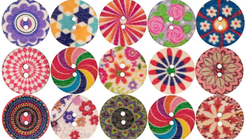 50% Discount for 100PCS Assorted Floral Printed Wooden Sewing Buttons with Mixed Color Retro Style Pattern Vintage Round Handmade Buttons for Kid's DIY Crafts Children's Manual Cutting Size 20mm 2 Holes (Retro)