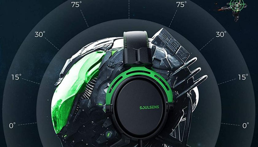 50% Discount for Soulsens Air SE Gaming Headset with 3D Bass for PS5 PC PS4 Xbox Over-Ear Computer Headset with Noise Cancelling Mic