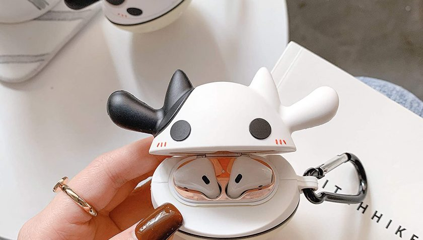 50% Discount for HSWAI Compatible with Airpods Case Cow 3D Cartoon Soft Silicone