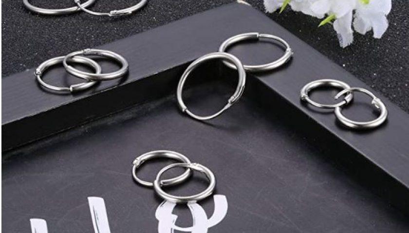 50% Discount for LOYALLOOK 5Pairs Stainless Steel Hoop Earrings for Men Women