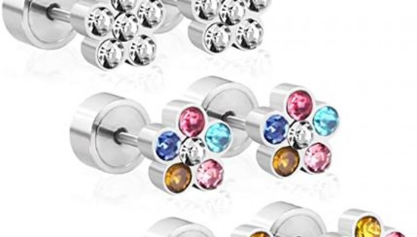61% Discount for LUXU kisskids Colorful Flowers Shape CZ inlaid Stainless Steel Stud Earrings