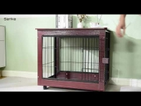 """39"""" Length Furniture Style Pet Dog Crate Cage End Table with Wooden Structure and Iron Wire"""
