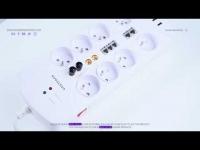 Multiprise Parasurtenseur Parafoudre,Bloc Multiprise avec 5 Prises Electrique avec Interrupteur