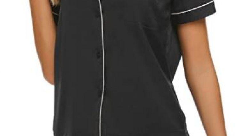 30% Discount for Ekouaer Women's Satin Silk Pajamas Set Short Sleeve Button-Down Pj Set